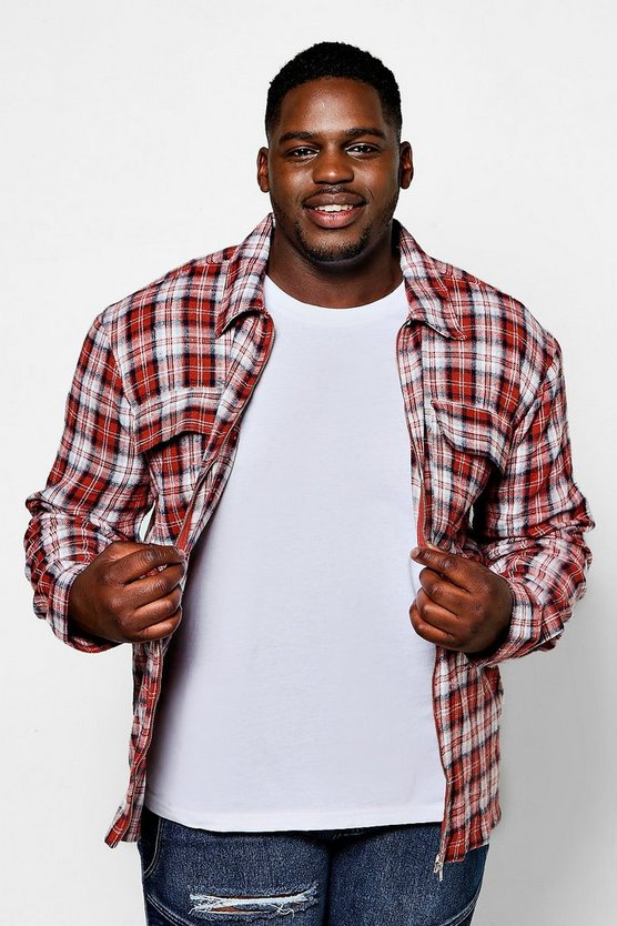 Big And Tall Long Sleeve Flannel Shacket