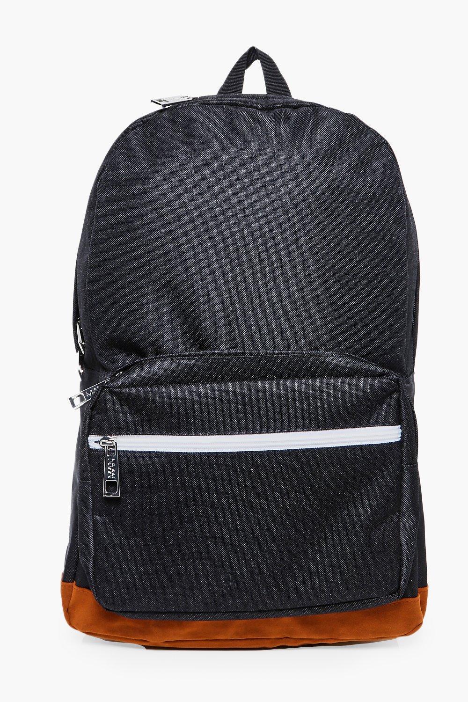 Panel Backpack - black - Suedette Panel Backpack -