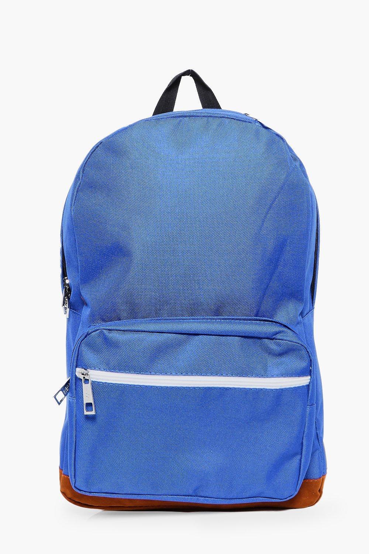 Panel Backpack - blue - Suedette Panel Backpack -