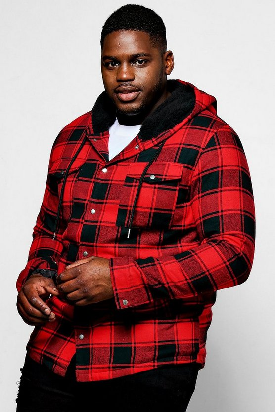Big & Tall Check Borg Lined Hoodie