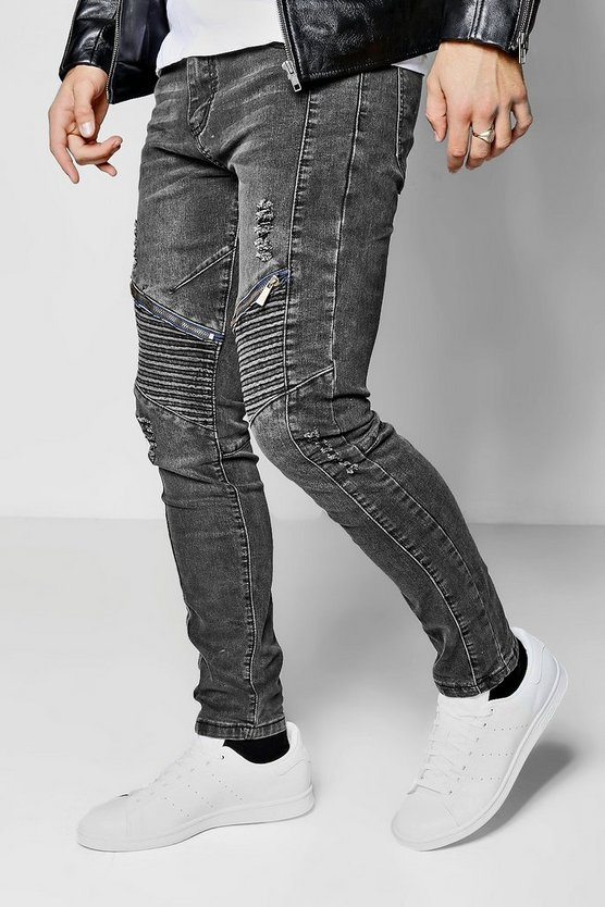 Charcoal Skinny Fit Biker Jeans With Distressing