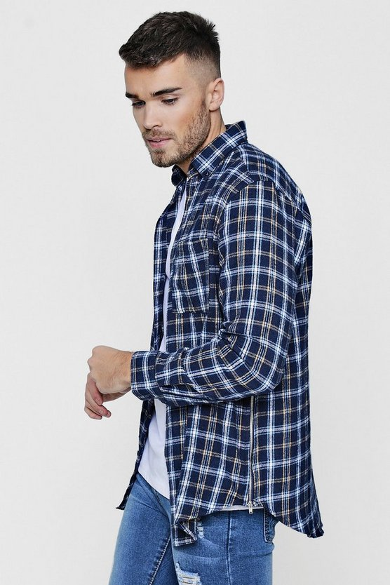 Check Shirt With Side Zip Detail