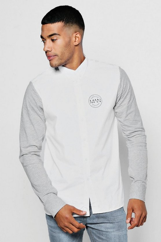 Contrast Jersey Sleeve Shirt With MAN Logo