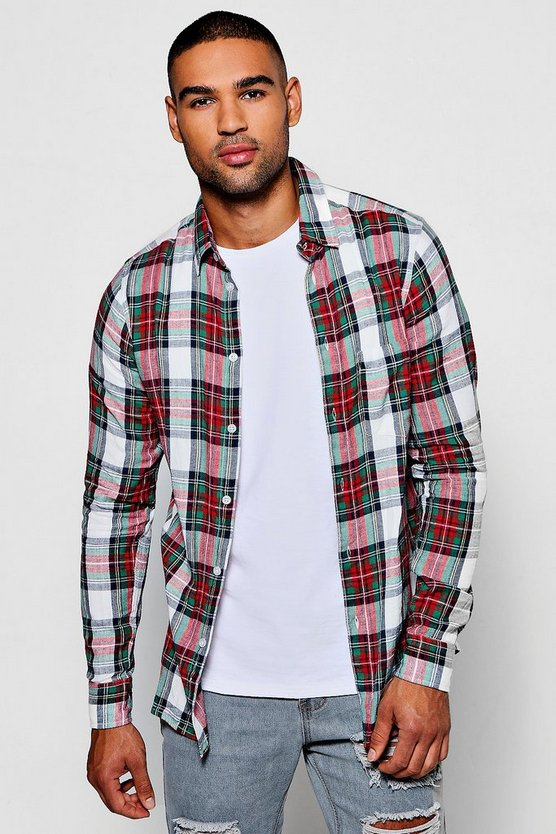 Red And Green Long Sleeve Check Shirt