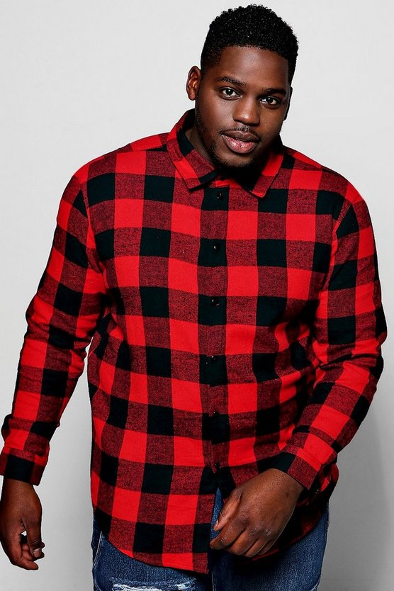 Big And Tall Red Buffalo Check Long Sleeve Shirt