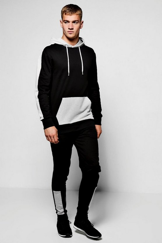 Fabric Block Hooded Skinny Fit Tracksuit