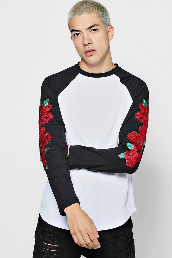 Raglan Longsleeve T-Shirt With Embroidered