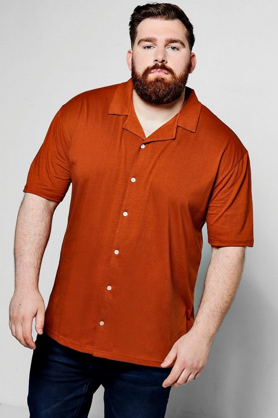 Big And Tall Short Sleeve Revere Collar
