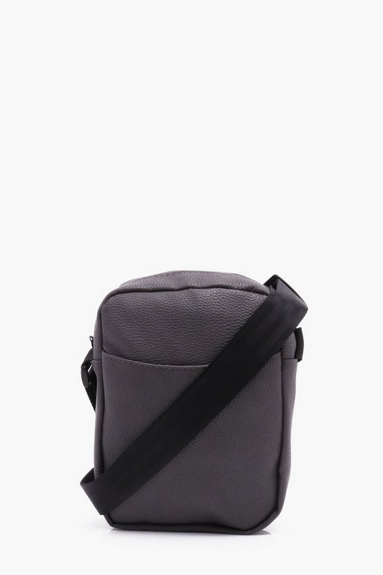 Grey PU Cross Body Man Bag