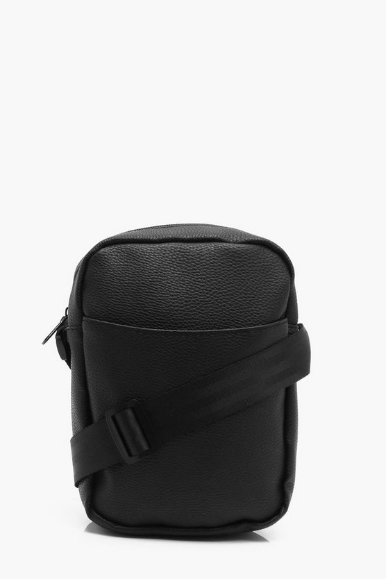 Black PU Cross Body Man Bag