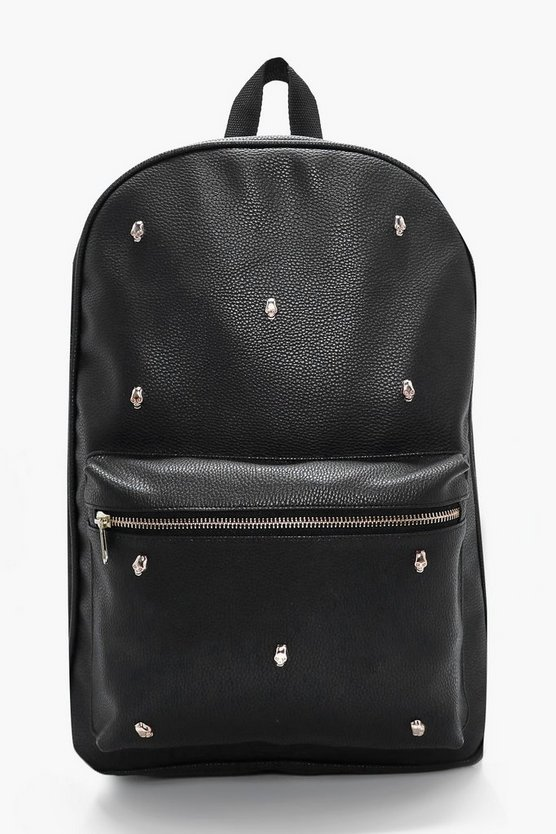 Black PU Backpack With Gold Skulls
