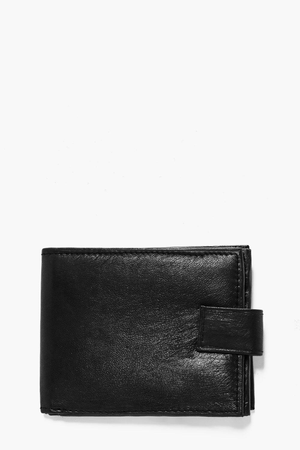 Leather Wallet With Zip Detail - black - Real Leat