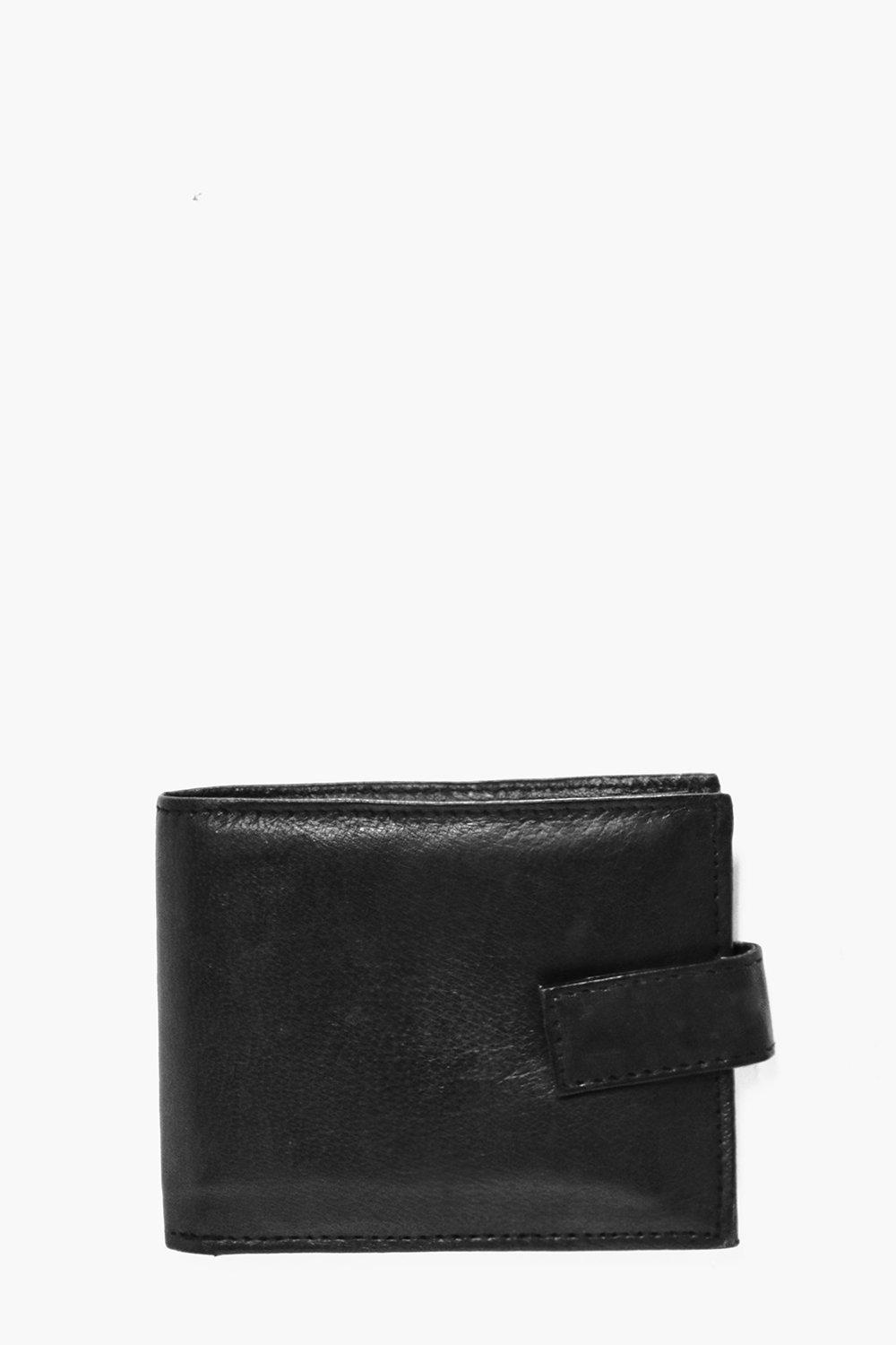 Leather Wallet With ID Flap - black - Real Leather