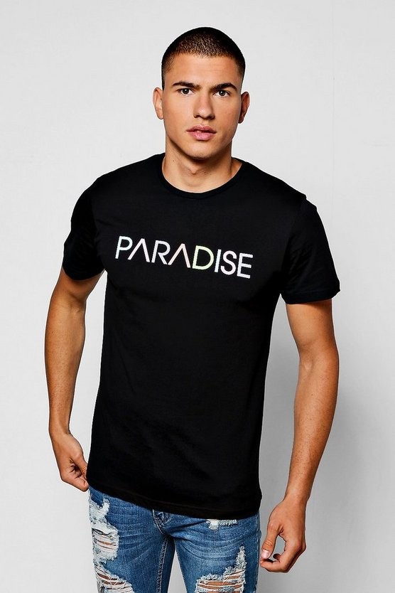 T-Shirt With Multi Colour Paradise Print