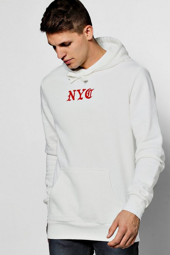 Oversized NYC Print Over The Head Hoodie