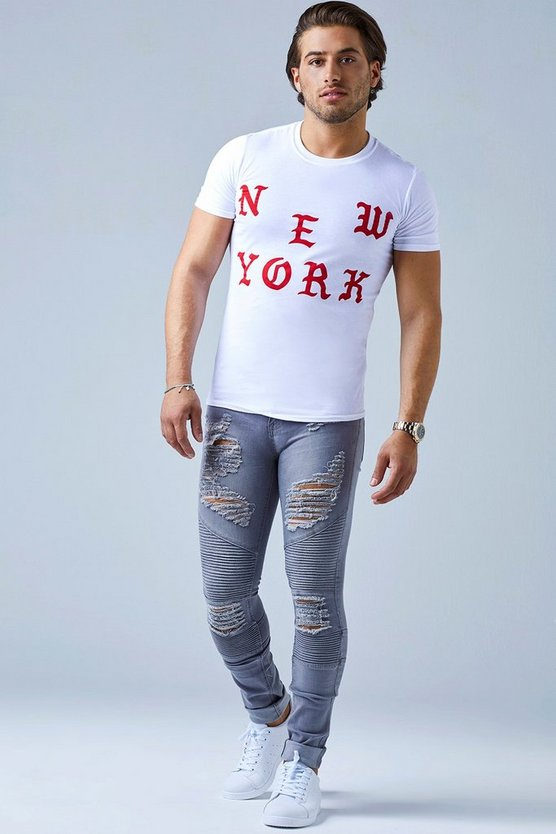 White Crew Neck T-Shirt With New York Print