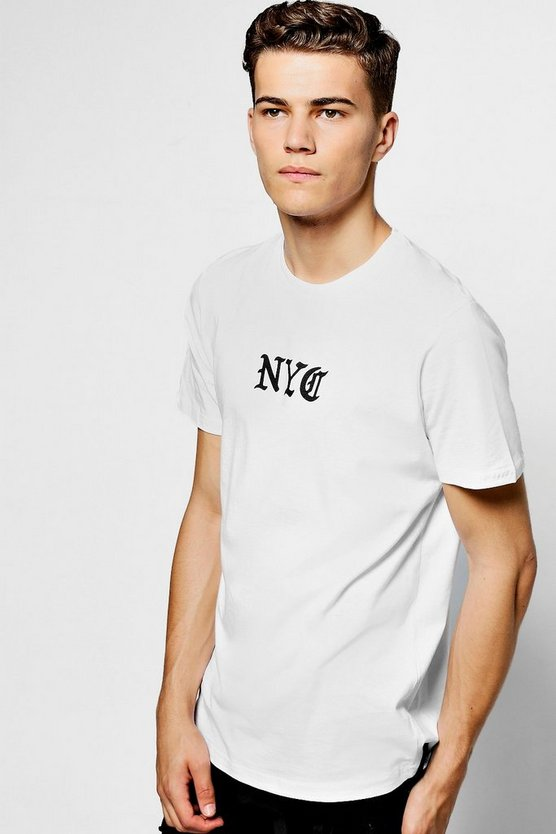 White Crew Neck T-Shirt With NYC Print
