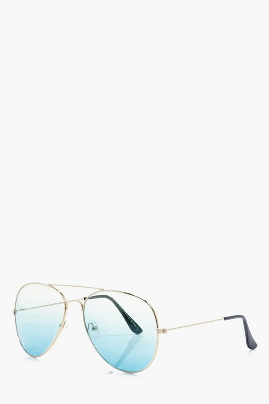 Gold Frame Aviators With Ombre Lens
