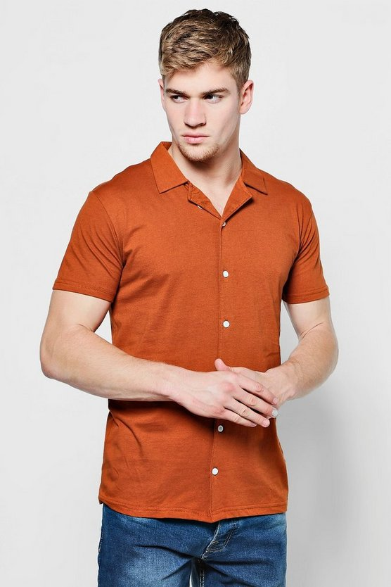 Jersey Revere Collar Short Sleeve Shirt