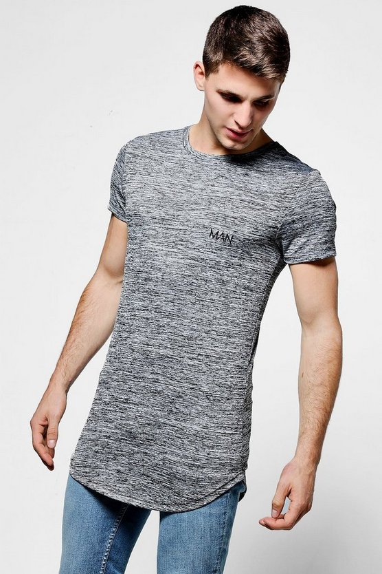 Grey Muscle Fit MAN Space Dye T-Shirt