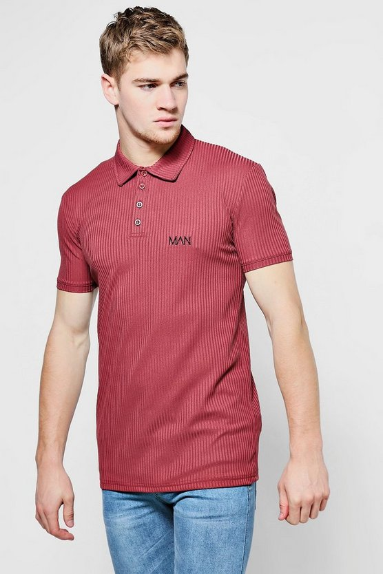 Wine Skinny Ribbed Knitted Polo