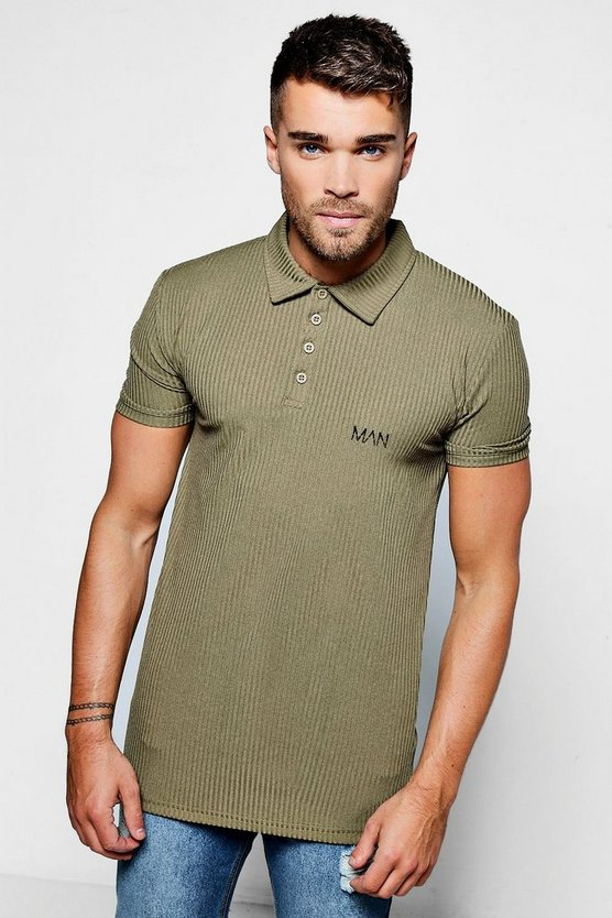 Khaki Skinny Ribbed Knitted MAN Polo