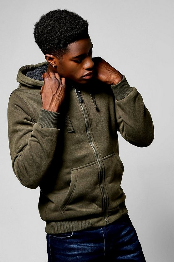 Sherpa Lined Zip Through Hoodie