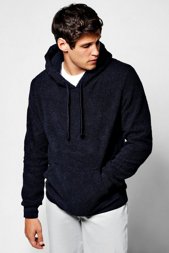 Borg Over Head Hoodie With Kangaroo Pocket