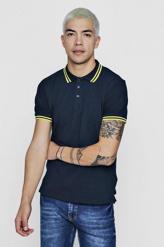 Short Sleeve Polo With Rib Collar