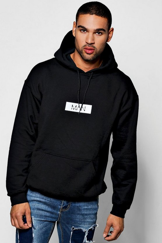 MAN White Box Oversized Print Hoodie