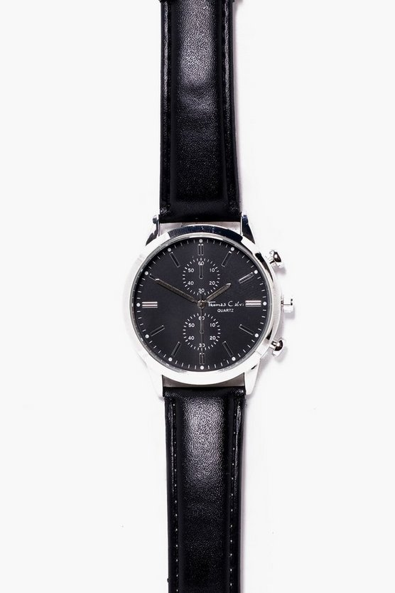 Black Strap Watch With Black Face