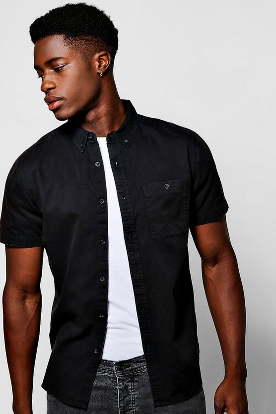 Black Acid Wash Short Sleeve Shirt