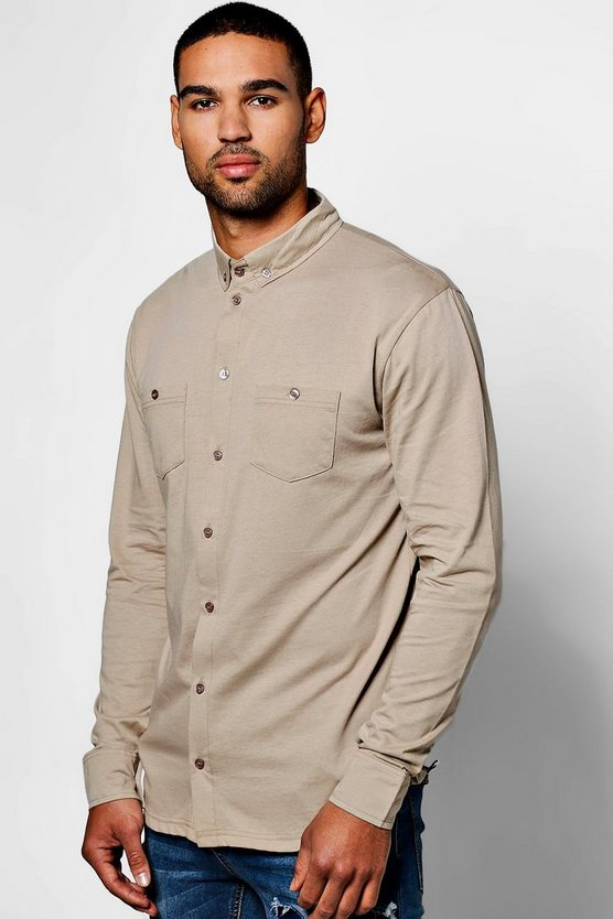 Long Sleeve Double Pocket Jersey Shirt