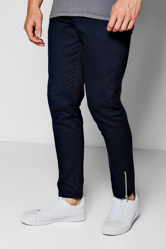 Navy Cropped Ankle Zip Detail Slim Chino