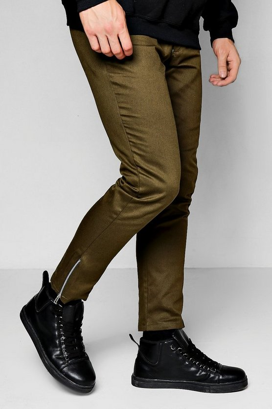Khaki Cropped Ankle Zip Detail Slim Chino
