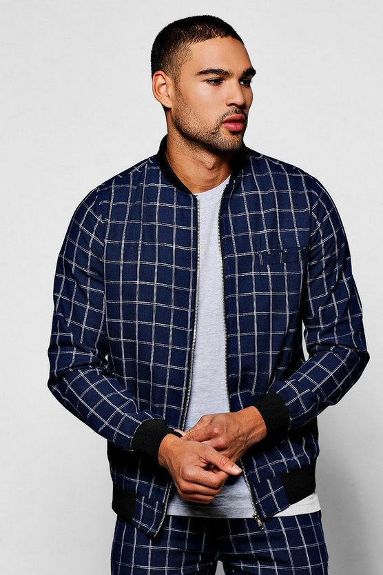 Navy Windowpane Check Tailored Bomber