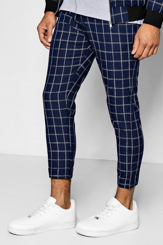 Windowpane Check Cropped Tailored Trousers