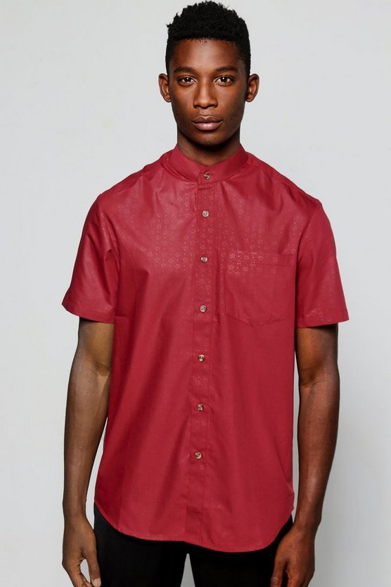 Short Sleeve Rose Jacquard Shirt