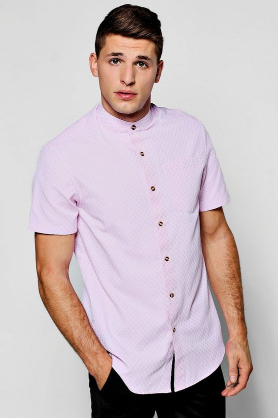 Short Sleeve Polka Dot Jacquard Shirt