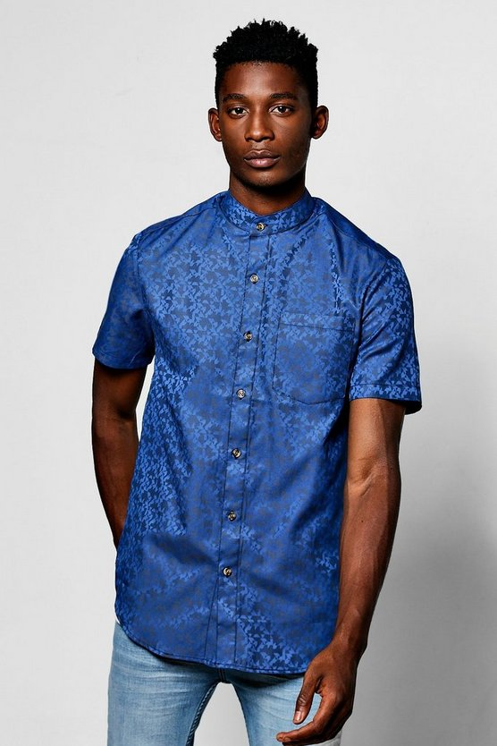 Short Sleeve Abstract Jacquard Grandad Collar Shirt