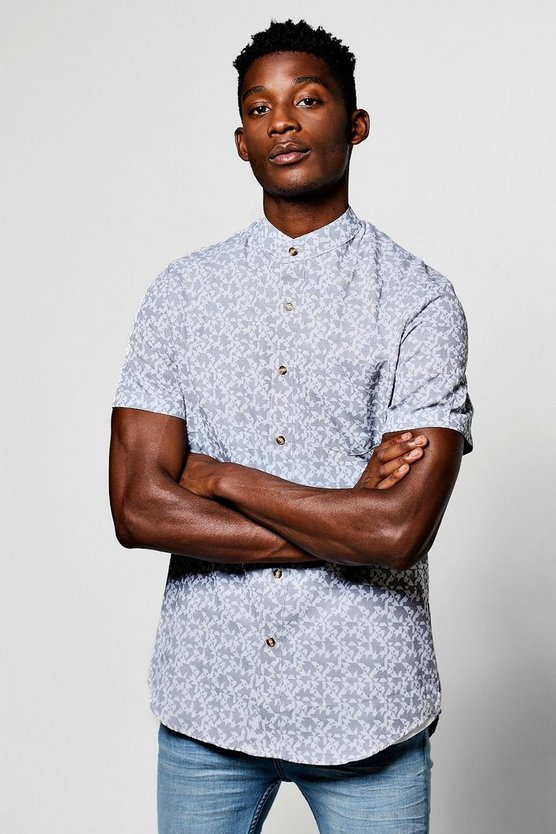Short Sleeve Abstract Jacquard Shirt