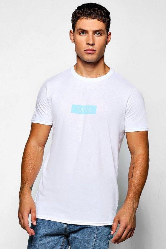 MAN Blue Box Logo Print T-Shirt