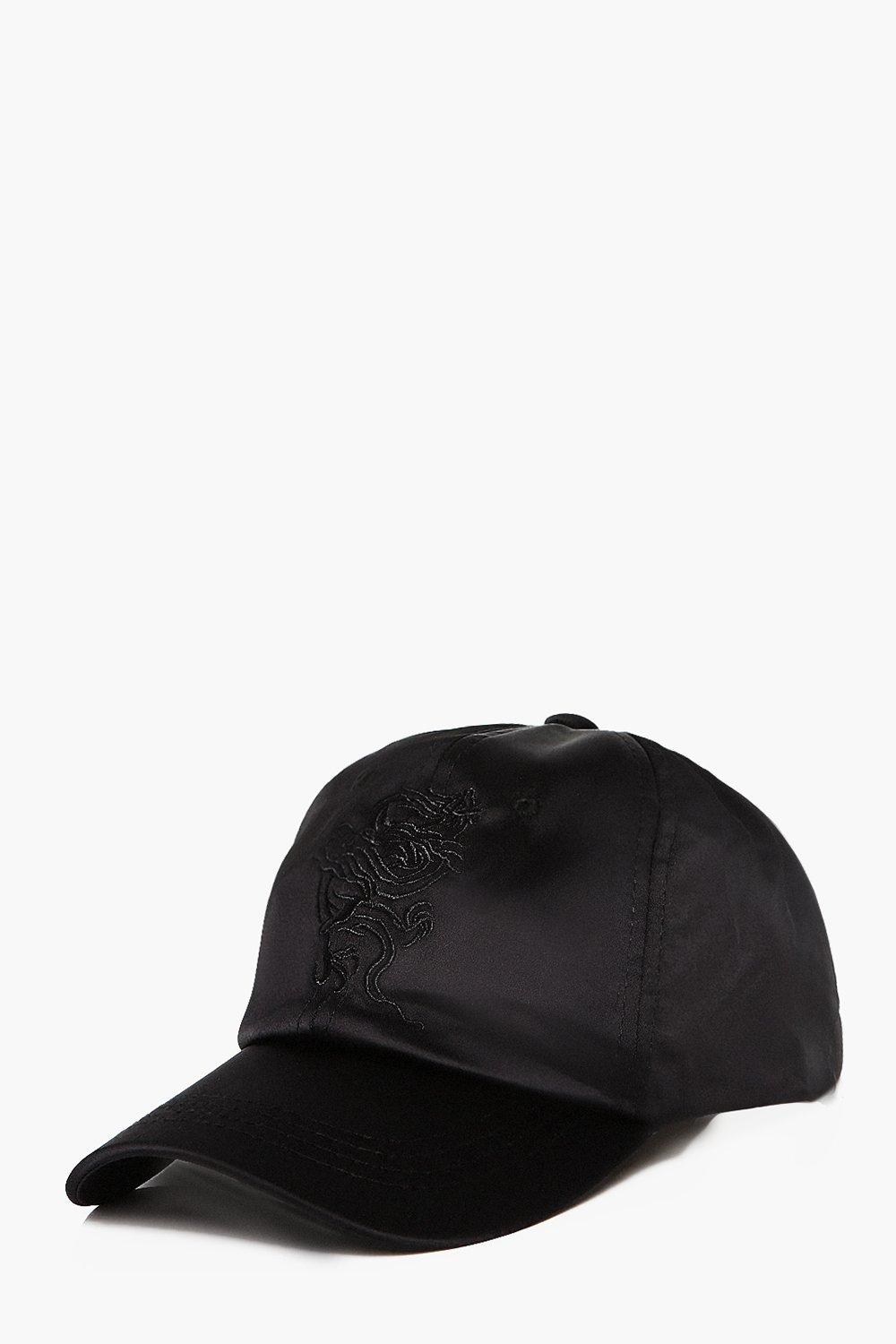 Embroidered Satin Cap - black - Dragon Embroidered