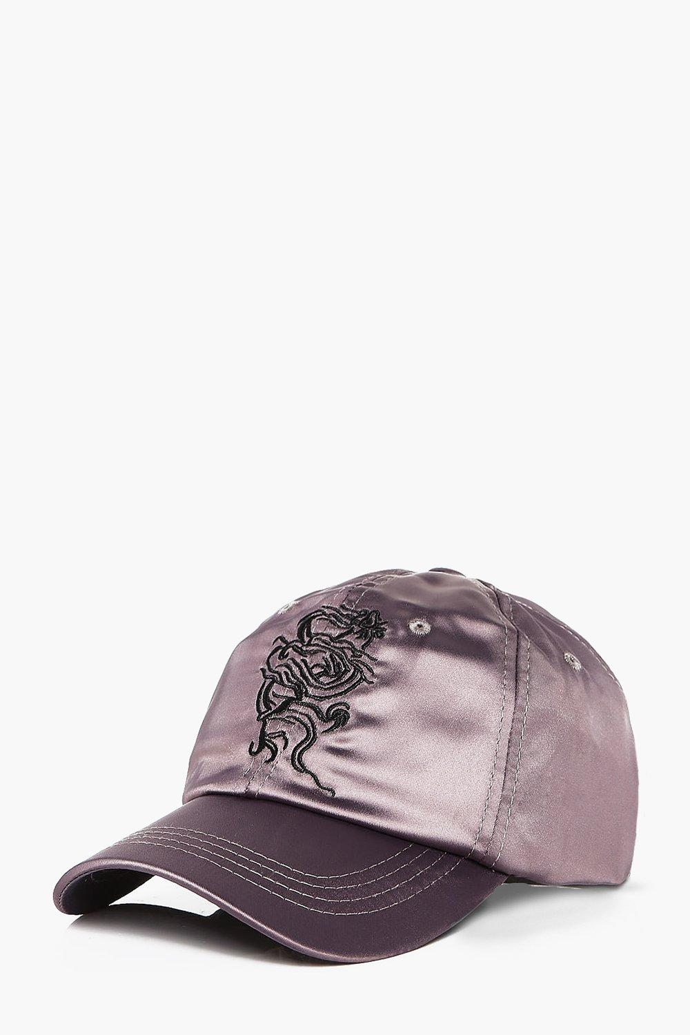 Embroidered Satin Cap - charcoal - Dragon Embroide