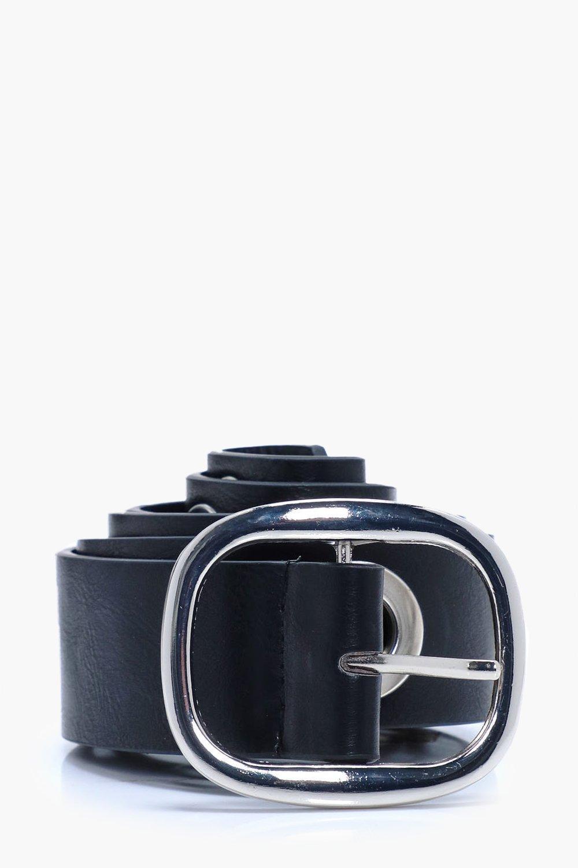 Belt With Oversize Eyelets - black - PU Belt With