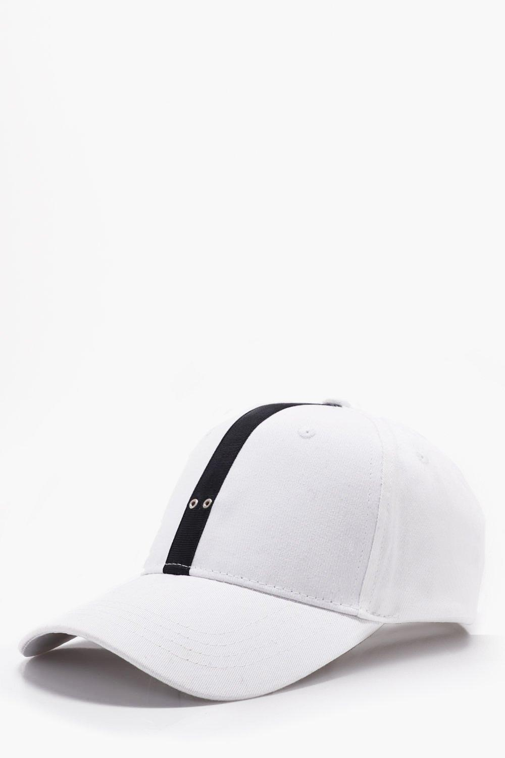 Stripe Cap - white - Grosgrain Stripe Cap - white