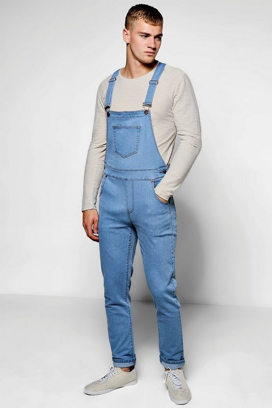 Pale Blue Slim Fit Denim Dungarees