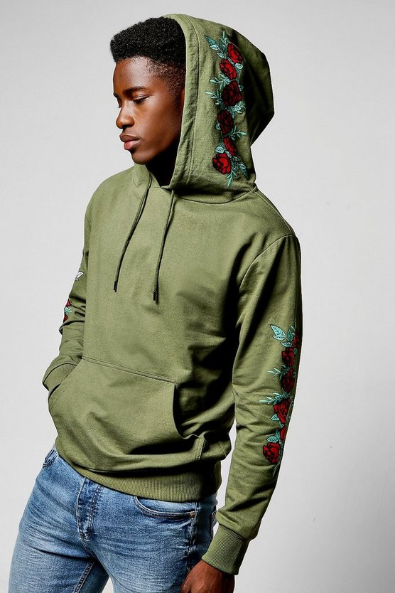 Over The Head Hoodie With Floral Embroidery