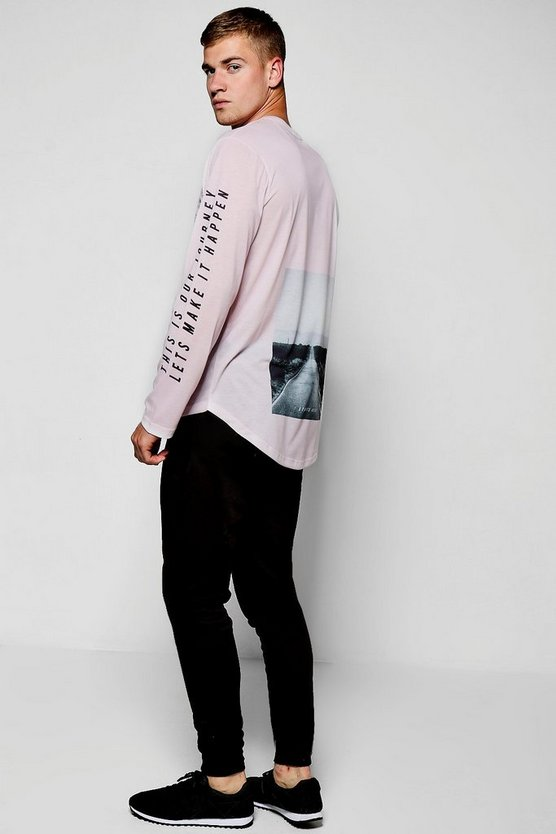 Longline Longsleeve Photo Print T-Shirt
