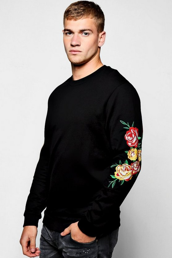 Sweater With Floral Embroidered Sleeves